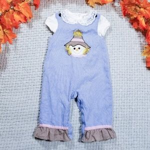 Candyland baby girl blue check Fall scarecrow romp